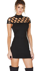 Caged Cap Sleeve High Neck Mini Dress Black Jessyka Robyn