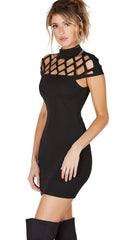 Caged Cap Sleeve High Neck Mini Dress Black Makes of Dreams