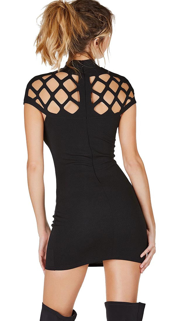Caged Cap Sleeve High Neck Mini Dress Black ShopAA