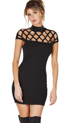 Caged Cap Sleeve High Neck Mini Dress Black Makers of Dreams