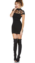 Caged Cap Sleeve High Neck Mini Dress Black Fishnet