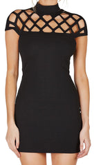 Caged Cap Sleeve High Neck Mini Dress Black short sleeve