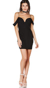 Crepe Cold Shoulder Fitted Mini Dress Black Sweetheart Neckline Top