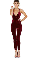 Socialite Velour Jumpsuit Burgundy - Jumper Velvet One Piece by Evenuel Red