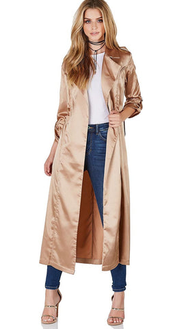 Satin Long Duster Coat Gold