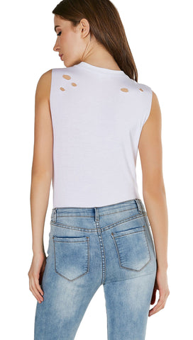 Muscle Cut Distressed Tank Bodysuit White