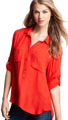 Bella Dahl Pullover Placket Shirt Bright Red