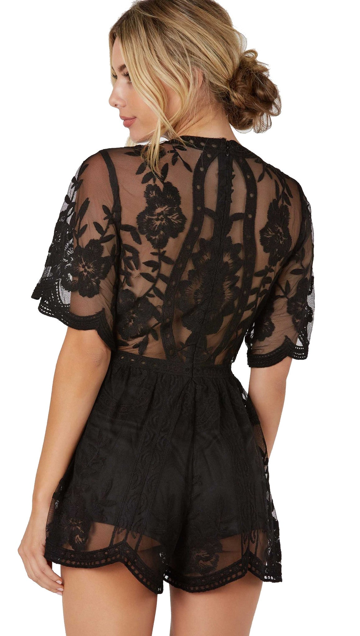 42dbeaea7607 Antique Embroidered Crochet Romper Black Lace from Honey Punch ShopAA