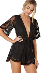 Antique Embroidered Crochet Romper Black Lace from Honey Punch ShopAA