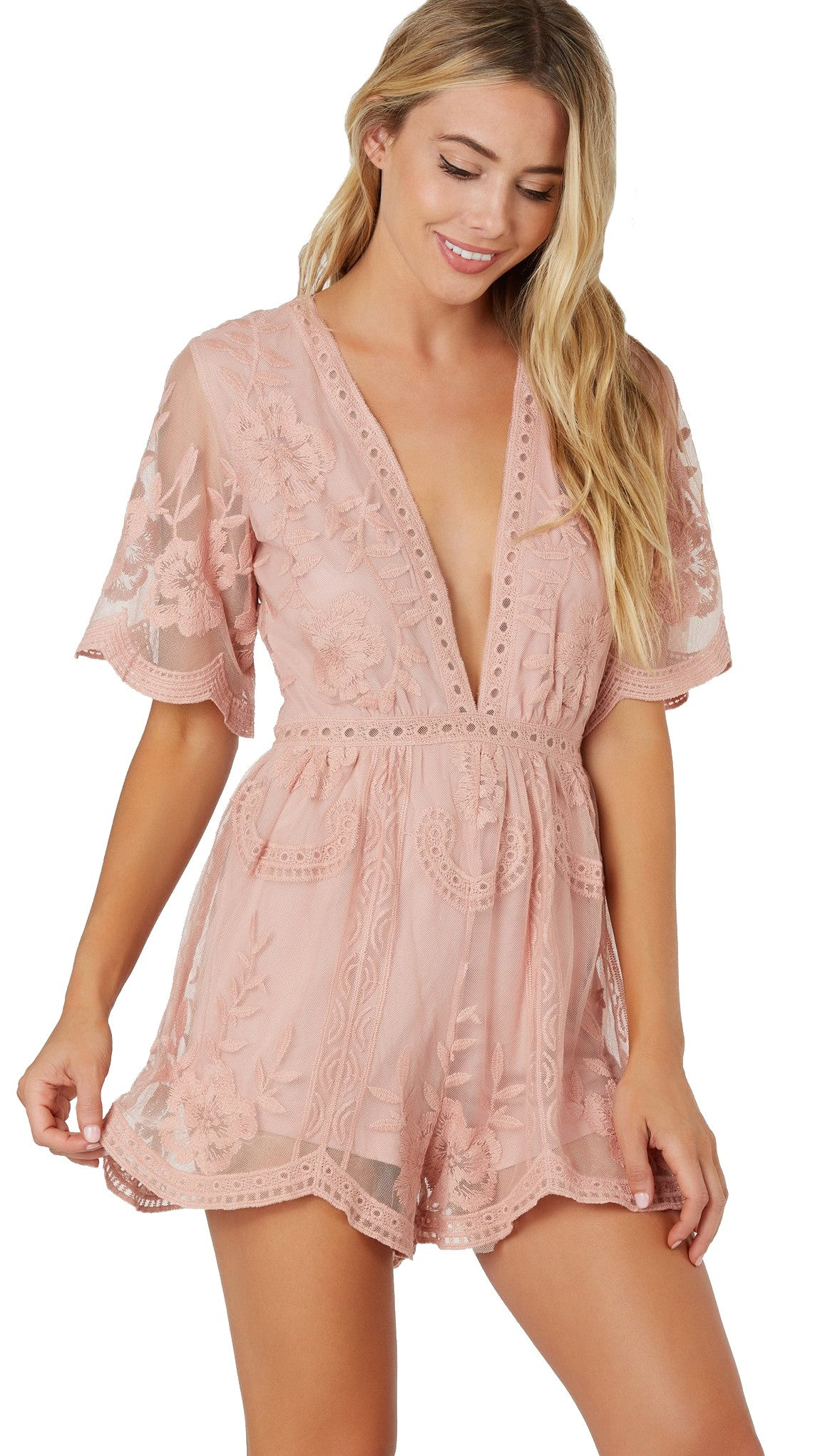 Antique Embroidered Crochet Romper Pink Sheer Lace from ShopAA