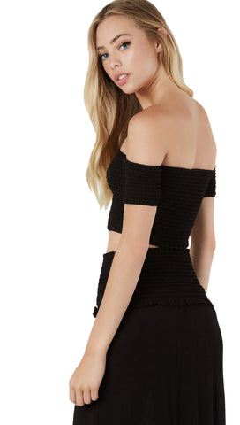 Short & Sweet Off Shoulder Smocked Crop Black By Blue Blush l ShopAA