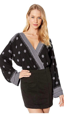 Free People On Board Boho V Neck Bodysuit Flared Sleeve Black I ShopAA