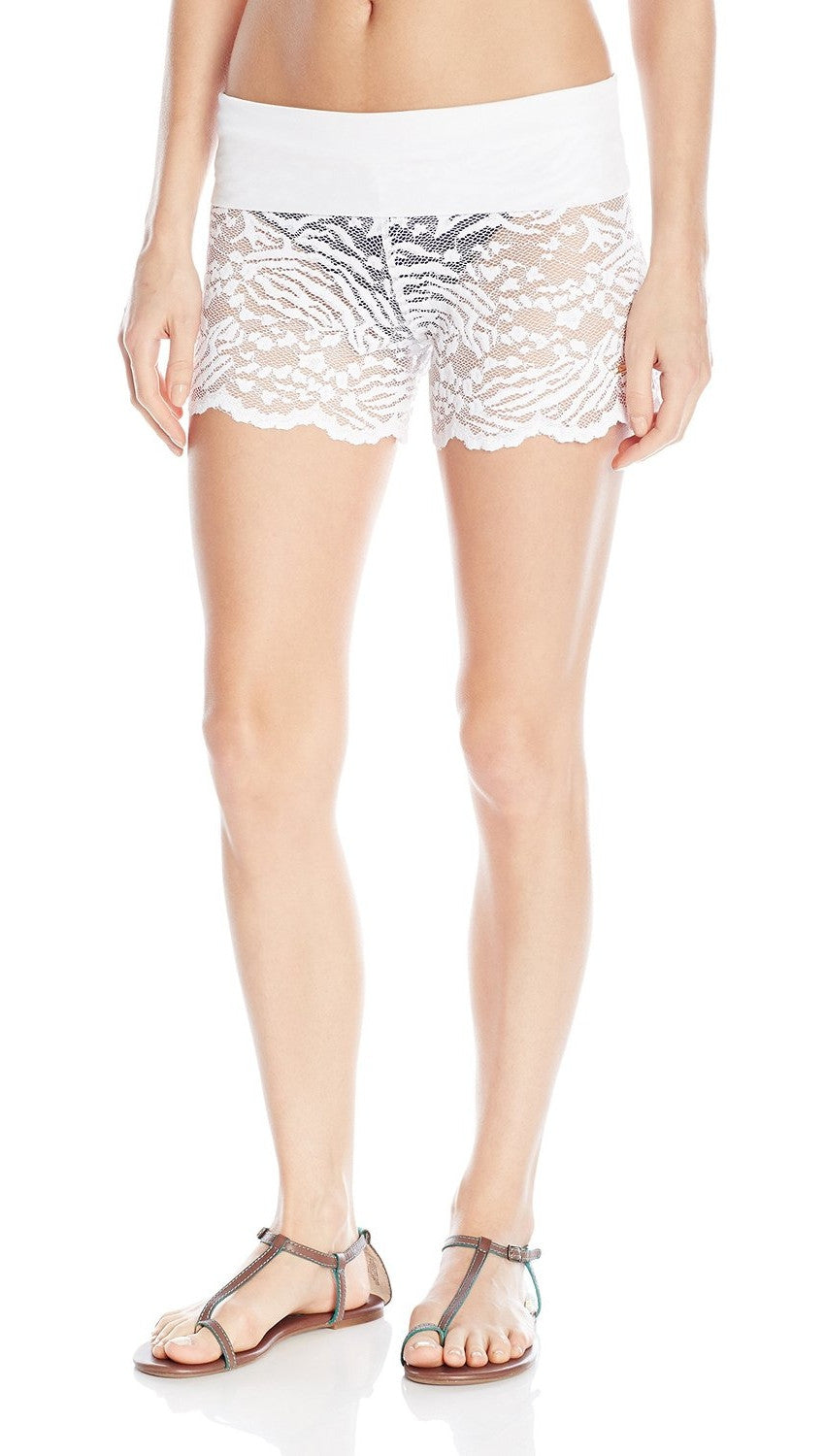 Blair Lace Fold Over Shorts White