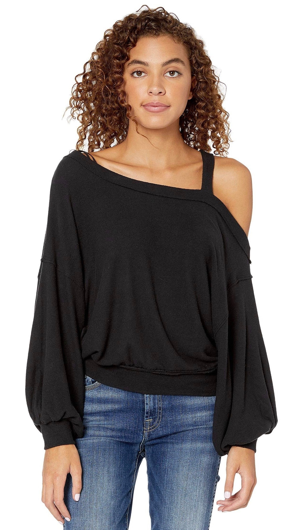 Free People Flaunt It Pullover Tee Black Dolman Long Sleeve Top I ShopAA