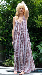9 Seed Tulum Chiffon Dress in Pink Snake
