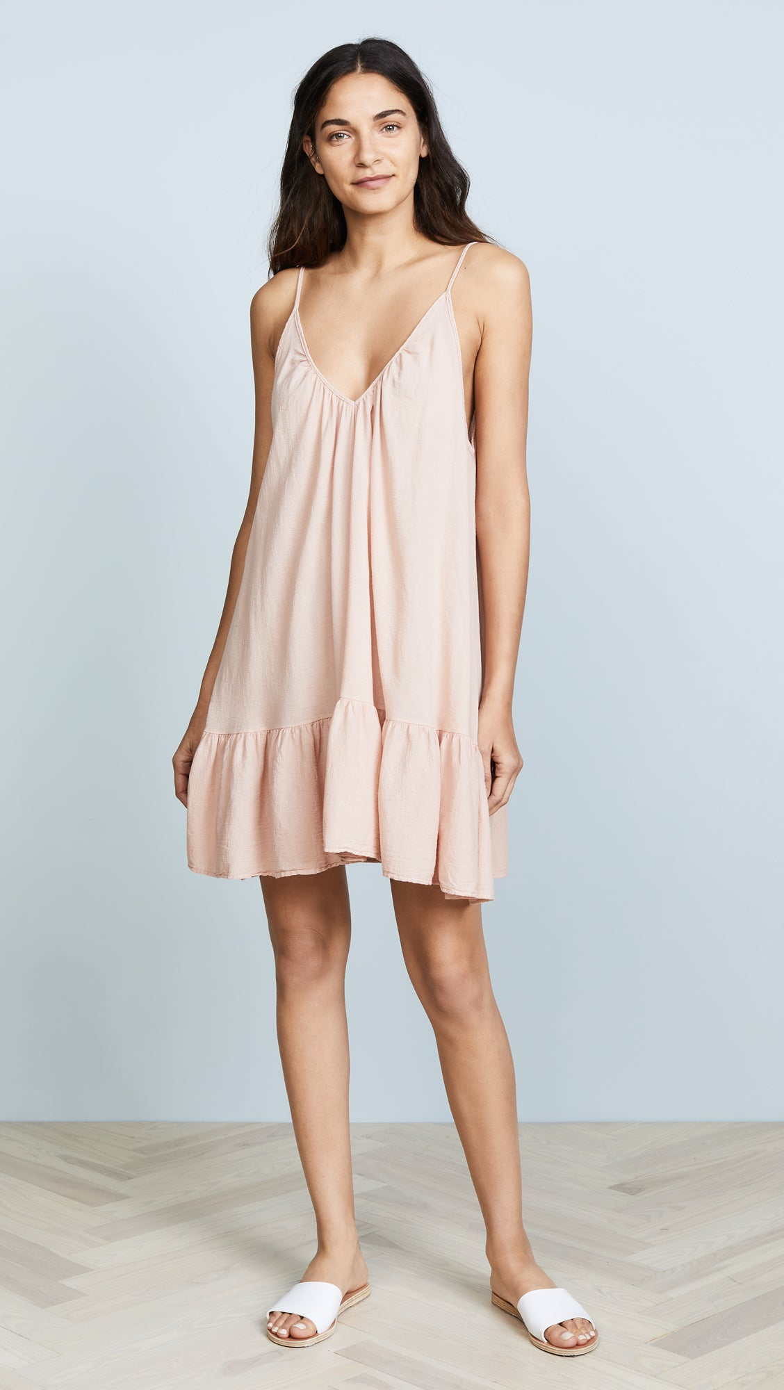 9Seed St Tropez Ruffle Cover Up Mini Dress Dusty Rose | ShopAA