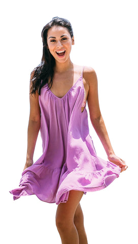 9Seed St Tropez Ruffle Cover Up Mini Dress Petal Purple | ShopAA