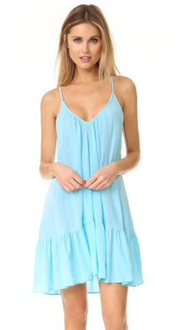 9Seed St. Tropez Ruffle Cover Up Mini Dress Ocean Blue | ShopAA