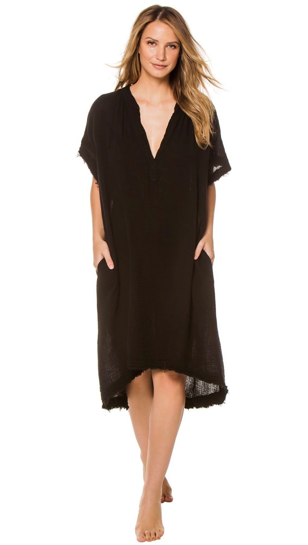 9Seed Tunisia Caftan Maxi Dress Black Frayed Gauze Maxi | ShopAA