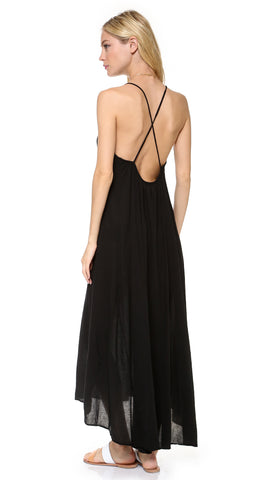 9Seed Seychelles Maxi Swim Cover Up Dress Black Open Back | ShopAA