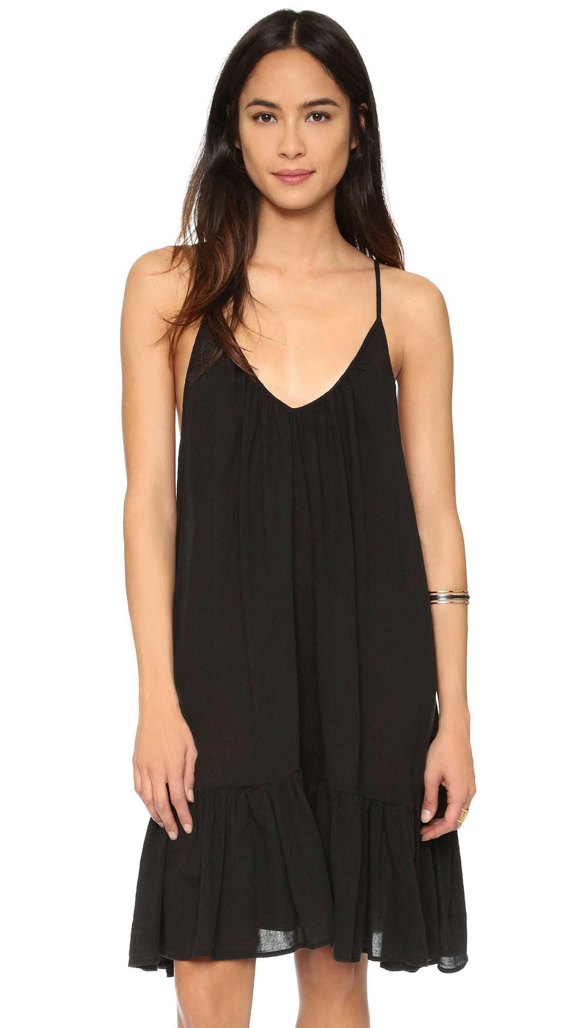 9Seed St Tropez Ruffle Cover Up Mini Dress Black Sleeveless | ShopAA