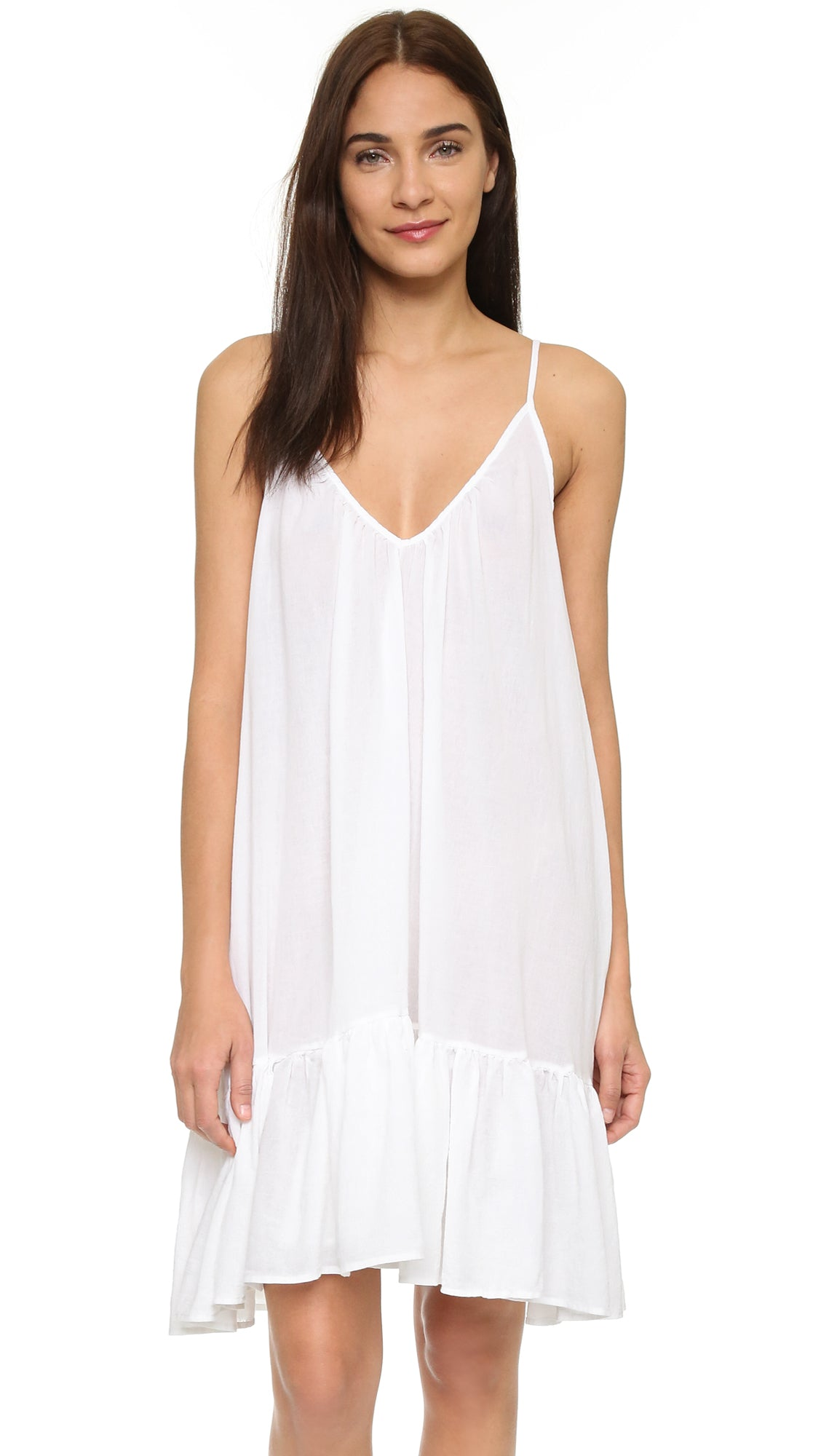 9Seed St Tropez Ruffle Cover Up Mini Dress White Sleeveless | ShopAA