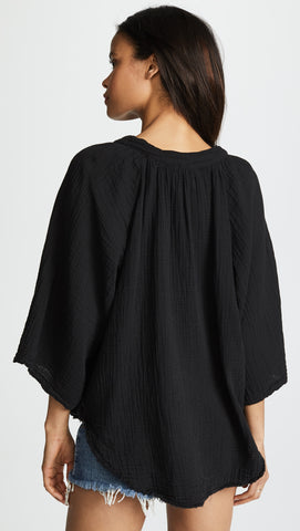 9Seed Marrakesh Cover Up Top Black Gauze Blouse V Neck Shirt | ShopAA