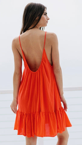 9Seed St Tropez Ruffle Cover Up Mini Dress Dahlia | ShopAA