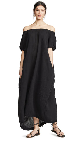 9Seed Moonstone Off Shoulder Caftan Black Frayed Gauze Maxi | ShopAA