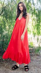 9Seed Paloma Cover Up Ruffle Maxi Dress Cherry Red | ShopAA