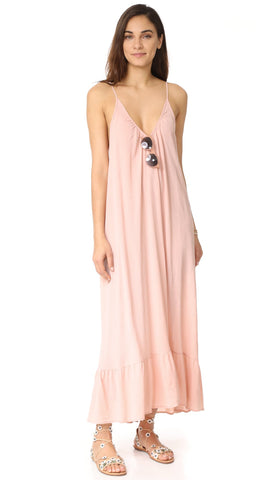 9Seed Paloma Cover Up Ruffle Maxi Dress Dusty Rose Pink | ShopAA