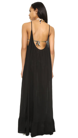 9Seed Paloma Cover Up Ruffle Maxi Dress Black | ShopAA