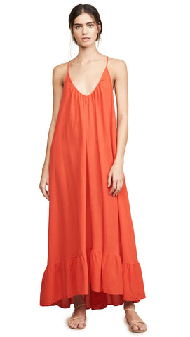 9Seed Paloma Cover Up Ruffle Maxi Dress Dahlia Red | ShopAA