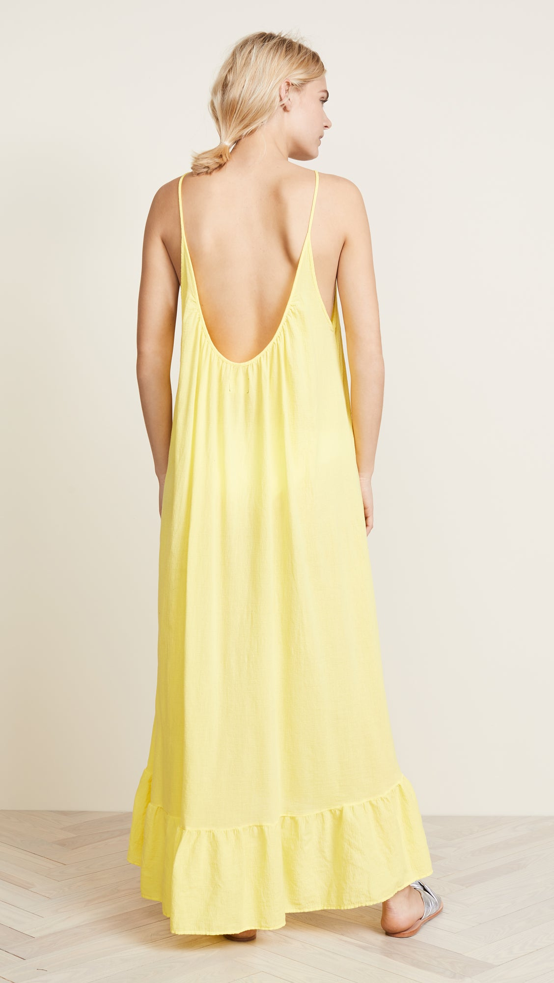 9Seed Paloma Ruffle Cover Up Maxi Dress Sunshine Yellow | ShopAA