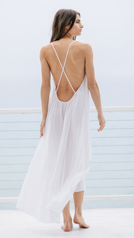 9Seed Seychelles Maxi Swim Cover Up Dress White Open Back | ShopAA