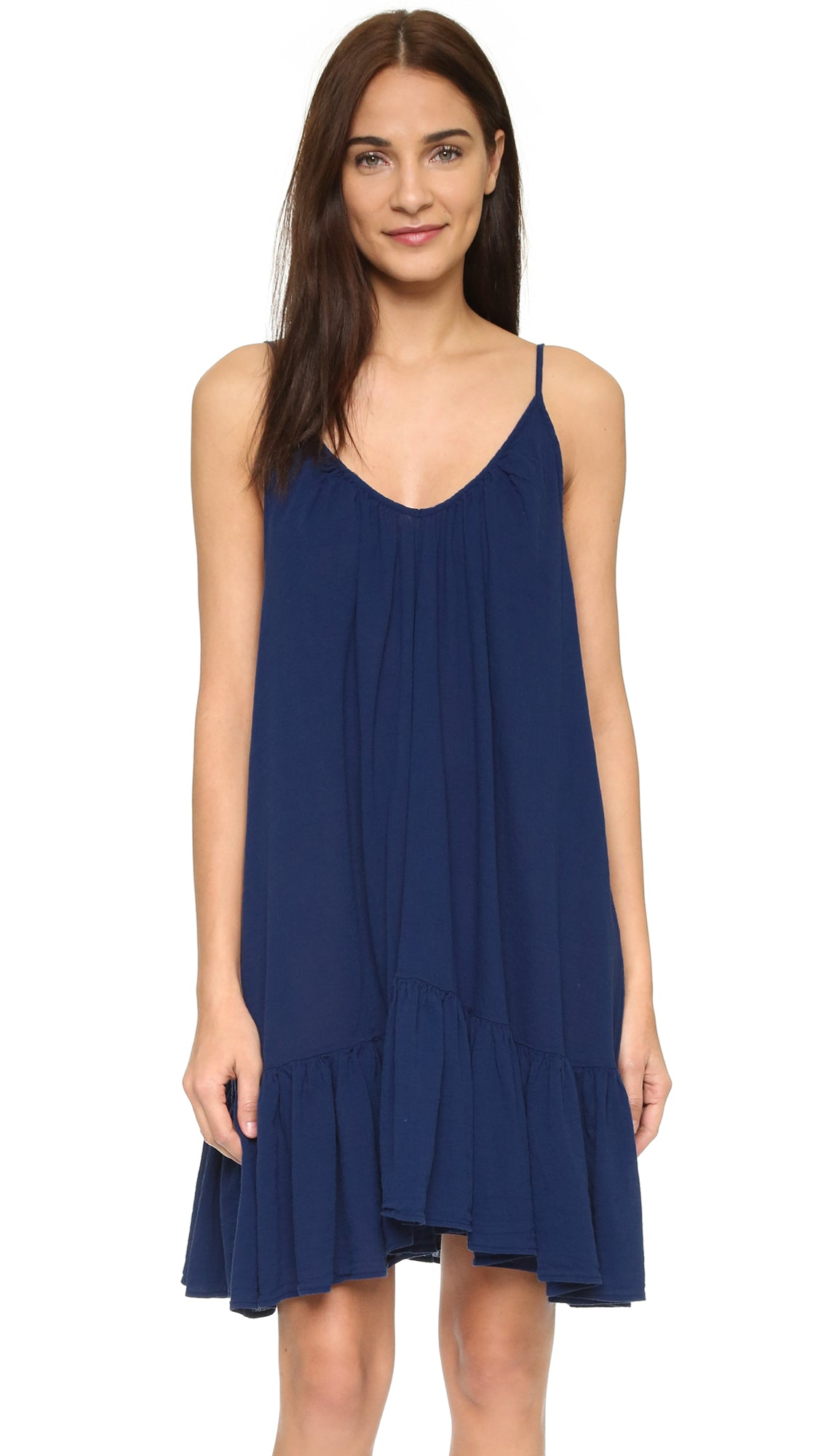 9Seed St Tropez Ruffle Cover Up Mini Dress Pacific Navy Blue | ShopAA