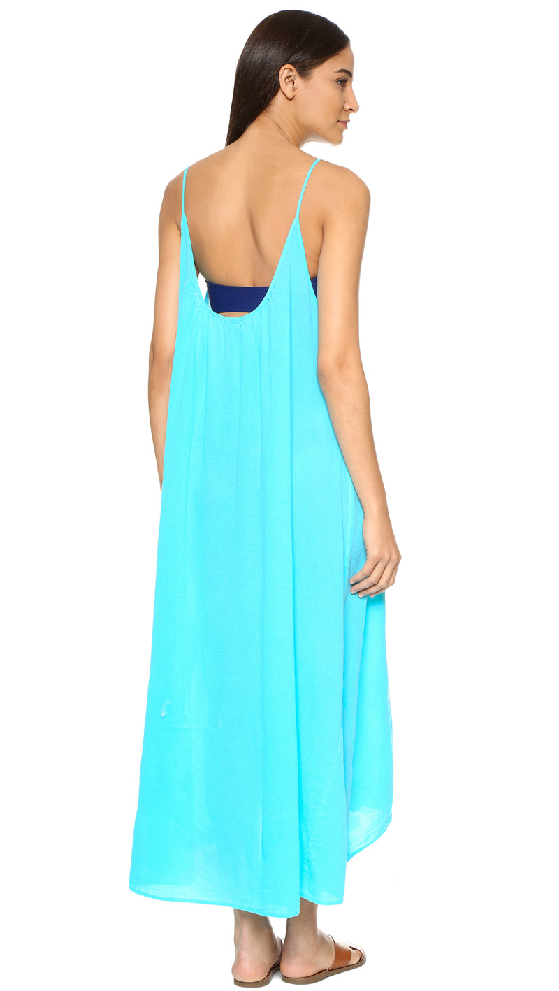 9Seed Tulum Maxi Cover Up Dress Ocean Blue | ShopAA