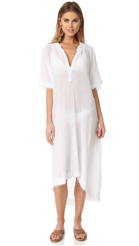 9Seed Tunisia Caftan Maxi Dress White Frayed Gauze Maxi | ShopAA