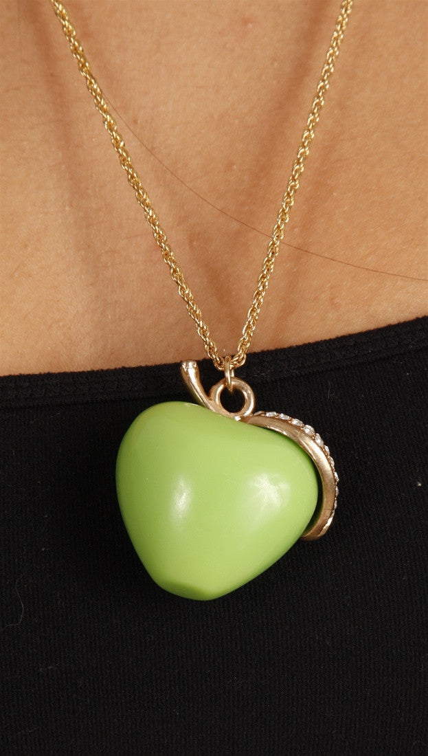 Apparel Addiction Green Apple Necklace