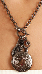 Photo Locket Charm Necklace in Dark Gunmetal