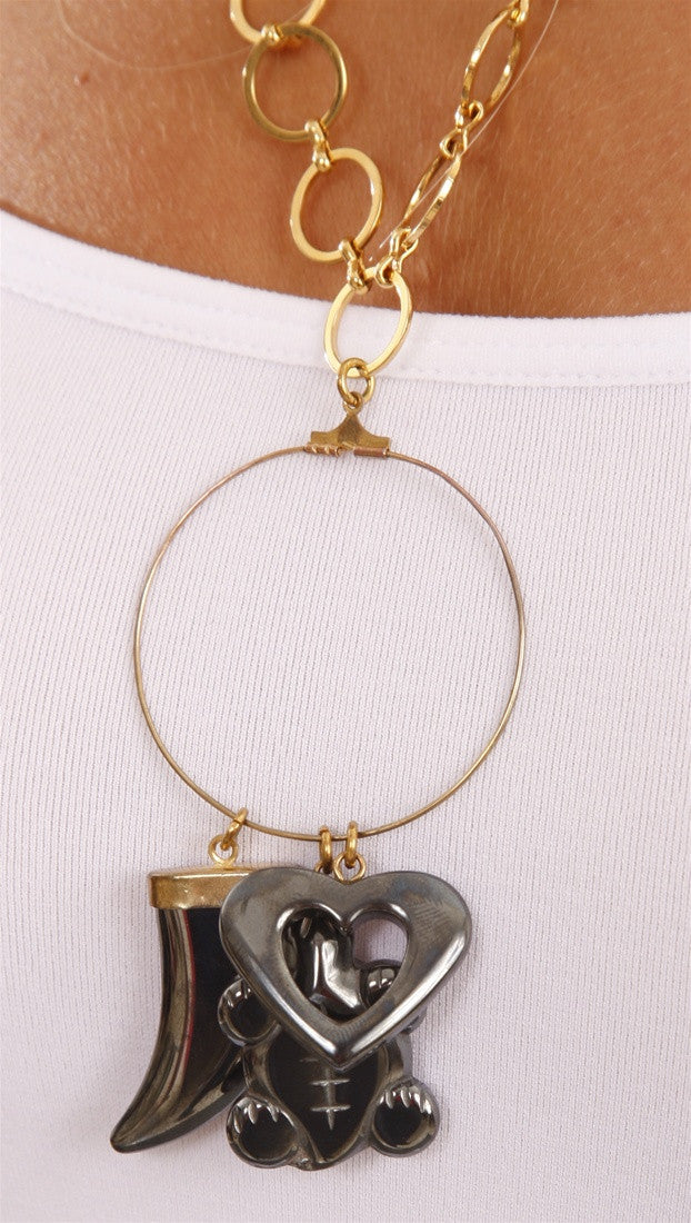 Apparel Addiction Gold and Hematite Necklace