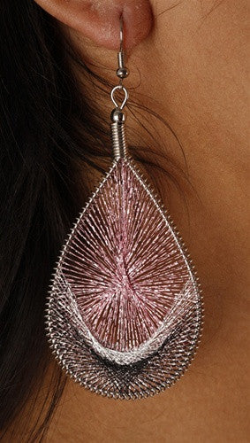 Woven Metallic Thread Earrings available in multiple colors
