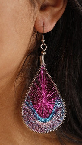 Apparel Addiction Woven Metallic Thread Earrings available in multiple colors