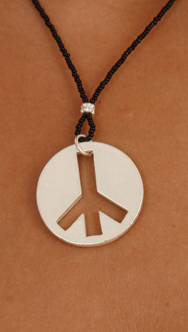 Apparel Addiction Jewelry Silver Brushed Peace Necklace in Black