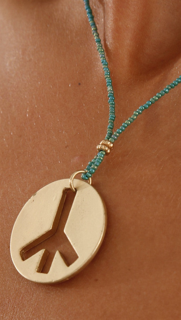 Apparel Addiction Jewelry Gold Brushed Peace Necklace in Teal