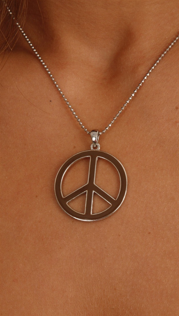 Apparel Addiction Brown and Silver Peace Sign Necklace