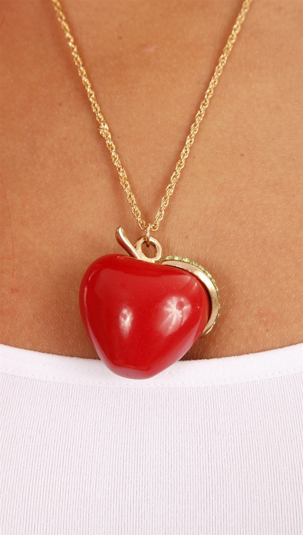 Apparel Addiction Jewerly Gold Necklace with Oversize Red Apple Charm