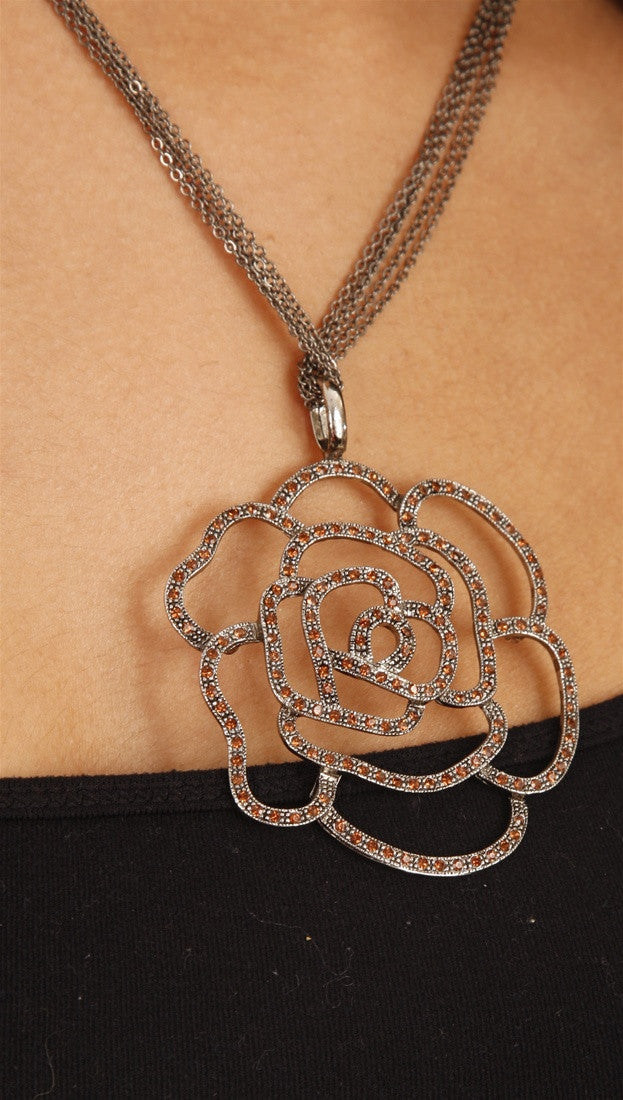 Apparel Addiction Jewelry Rose Cutout Necklace