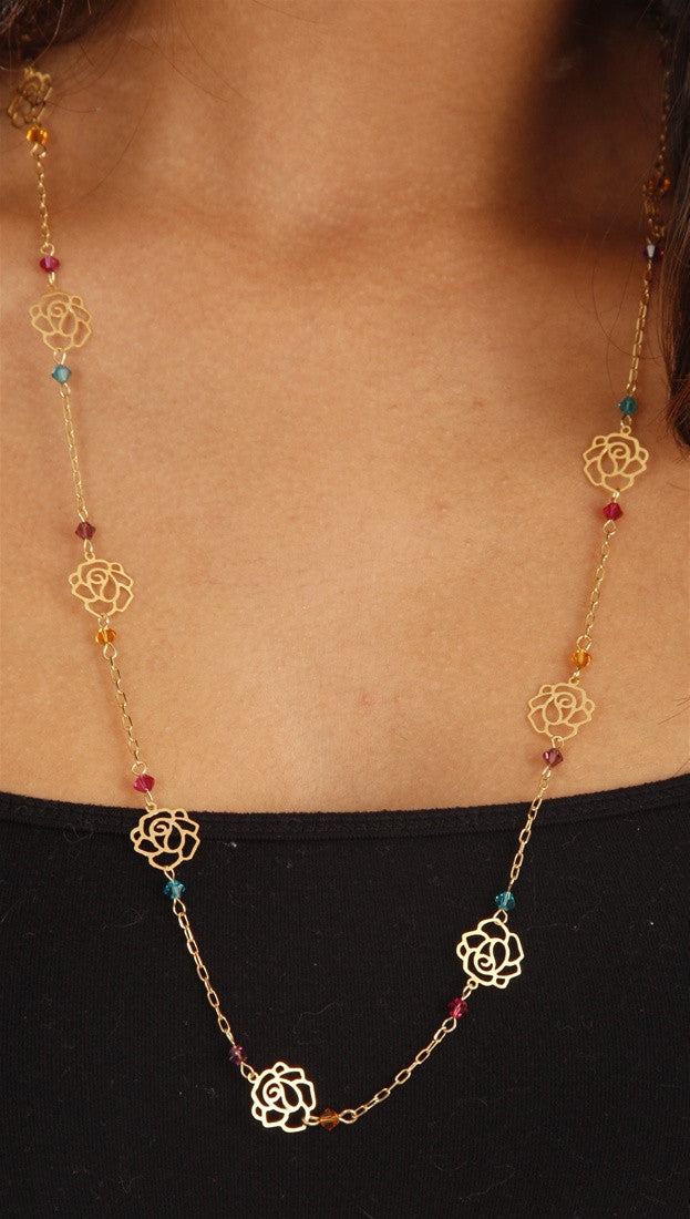 Apparel Addiction Gold Rose Cutout Necklace