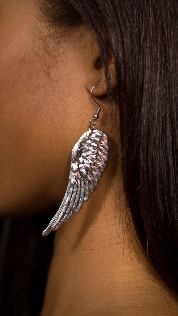 Apparel Addiction Wing Earrings Silver